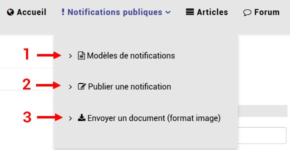 Menu notif publique